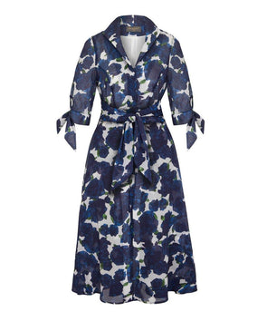NOW IN Navy Roses Voile Grace Tie Front Shirt Dress