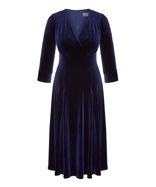 Navy Velvet Bombshell Tea Dress