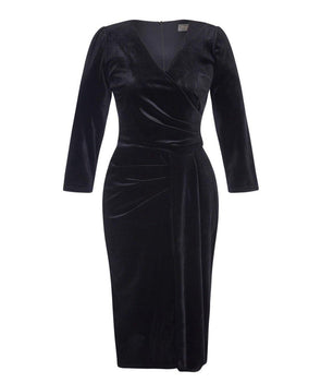 Black Velvet 'Stretch Luxe' Bombshell 3/4 Sleeve Jersey Dress