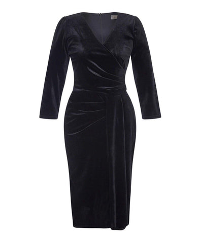3/4 Sleeve Black Velvet Dress