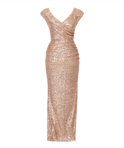 Bombshell Cap Sleeve Rose Gold Sequin Gown Evening Gown Summer Ball Wedding Cocktail Party Mother of the Bridge