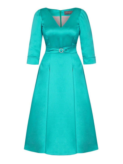 Bombshell 'Elegance' Dress in Soft Matt Jade Stretch Satin Mother of the bride wedding guest