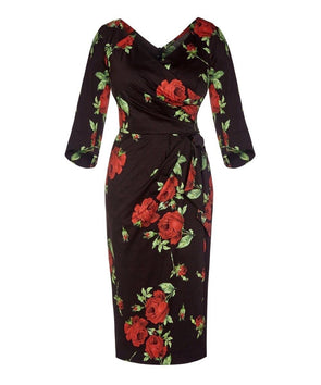 Darcey Black and Red Roses Bombshell 3/4 Sleeve Confident Dress