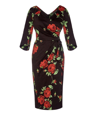 Darcey Black and Red Roses Bombshell Dress