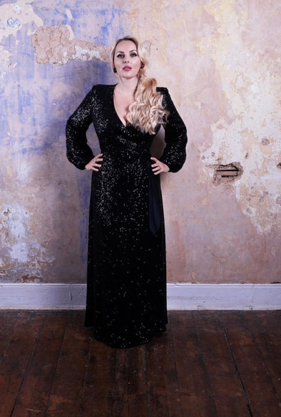 Luxury Sequin Bombshell Robe in Black - Bombshell London