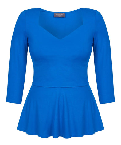 Royal Blue Sweetheart Top with Peplum