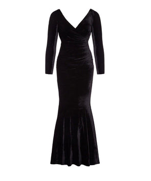 Bombshell Black Velvet Fishtail Evening Gown
