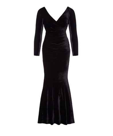 Bombshell Black Velvet Fishtail Evening Gown | Mother of the Bride Wedding Guest Dress