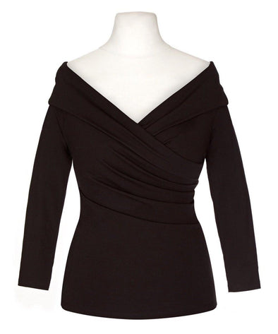 NOW IN Black Edge of the Shoulder Bombshell Luxury Jersey Wrap Top