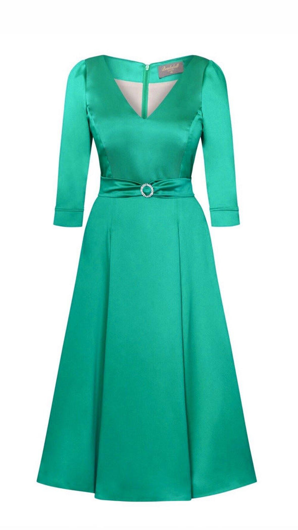 Bombshell 'Elegance' Dress in Soft Matt Emerald Stretch Satin Mother of the Bride Wedding Guest