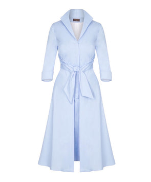 Powder Blue Grace Tie Front Shirt Dress