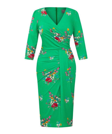 Green Wild at Heart Stretch Luxe Bombshell 3/4 Sleeve Jersey Dress