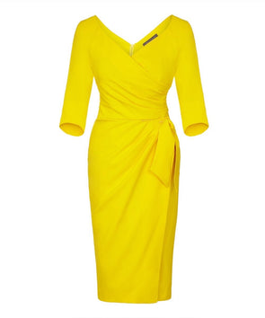 Yellow Bombshell 3/4 Sleeve Confident Dress