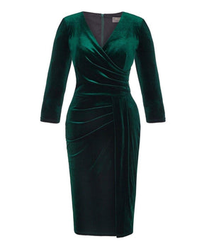 Bombshell 3/4 Sleeve Dark Green Velvet Dress Evening Event Warm Comfortable Wedding Dinner Cocktail Party Chic
