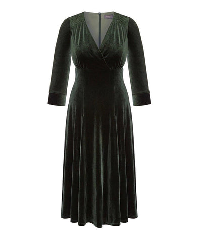 Moss Green Velvet Swing Bombshell Tea Dress - NOW IN