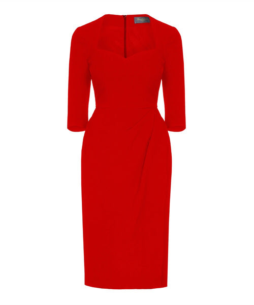 Sweetheart Bombshell 3/4 Sleeve Dress Red