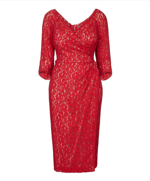 Nigella Red wrap wedding guest dress bombshell red lace