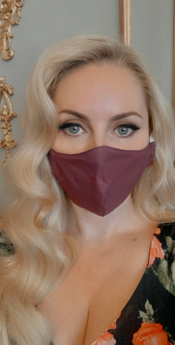 Bombshell Facemask With Filter Pocket Made With Liberty Plain Dyed Tana Lawn - Aubergine - Bombshell London