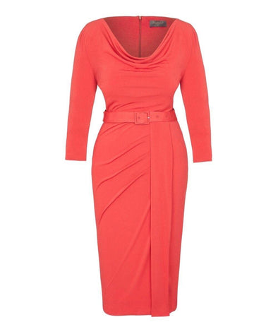 As worn by GMB Kate Garraway Bombshell Stretch Luxe' Scoop Neck 3/4 Sleeve Jersey Dress Coral
