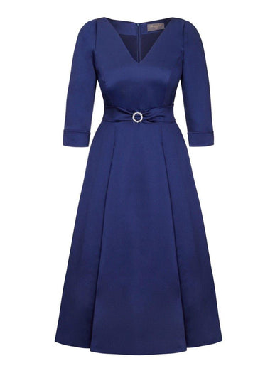 Bombshell 'Elegance' Dress in Soft Matt Navy Stretch Satin Mother of the Bride