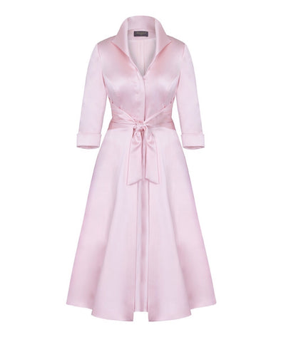 Pale Pink Soft Matt Stretch Satin Grace Tie Front Bombshell Dress Mother of the Bride Wedding Guest