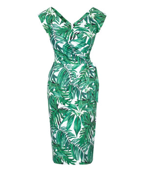 Confident Palm Print Cap Sleeve Dress