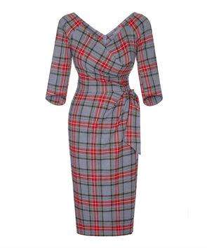 Grey Tartan 3/4 Sleeve Dress Burns Night Scottish Wedding Event