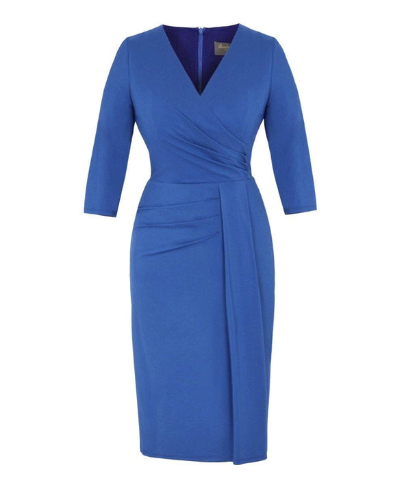 Bombshell Bright Blue Jersey Stretch Luxe Dress 3/4 Sleeve