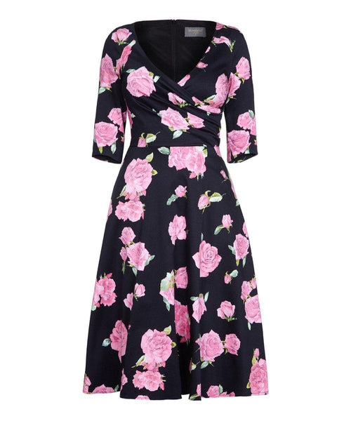 Fit Flare Flatter 'MIDNIGHT ROSES' Bombshell Dress
