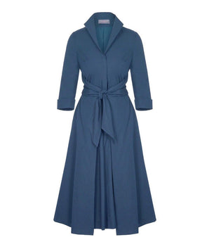 BEST SELLER Heron Blue Grace Tie Front Shirt Dress