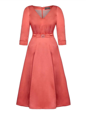 Bombshell 'Elegance' Dress in Soft Matt Watermelon Stretch Satin Mother of the Bride Wedding Guest