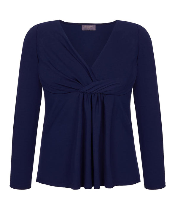 Lounge Drape Top in Navy Front