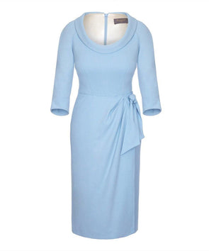 Bombshell Scoop Neck Dress with Sarong Skirt Powder Blue