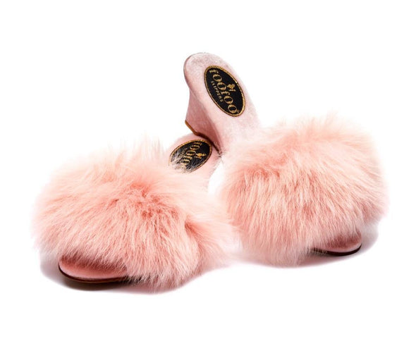 FooFoo for Bombshell Pink Fluffy Sheepskin Luxury Mules