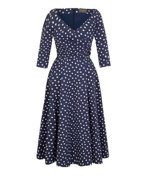 Edge of the Shoulder Midi Bombshell Dress in Navy Small Polka Dot