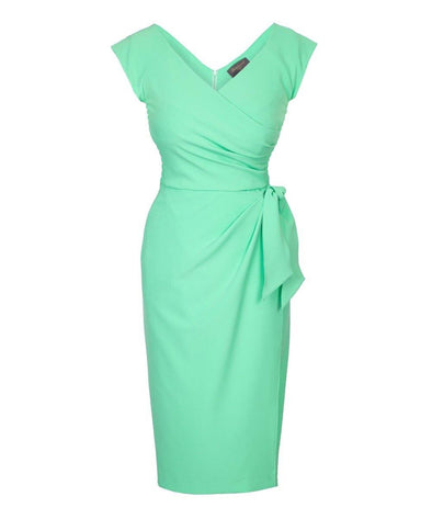 Bombshell Mint Cap Sleeve Sarong Skirt Dress