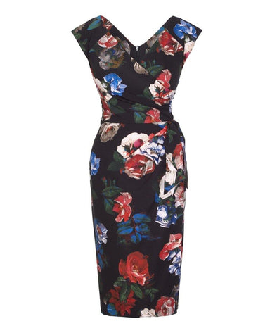 Bombshell Confident Dark Floral Cap Sleeve Dress