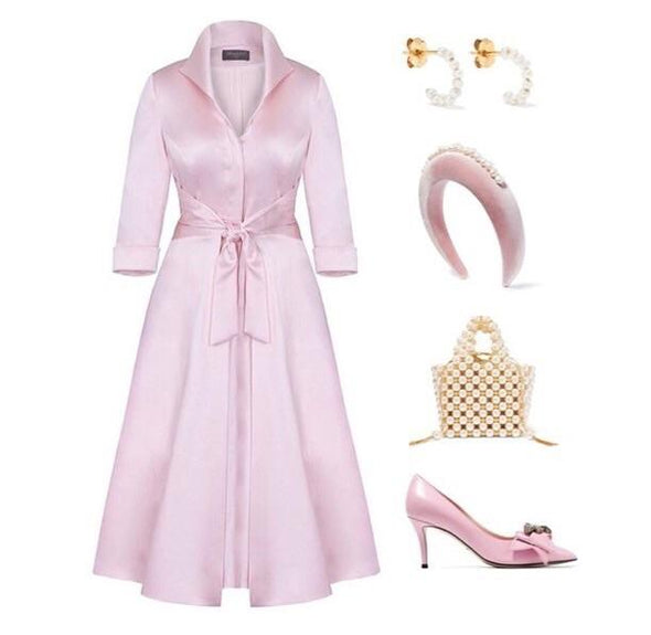 Pale Pink Soft Matt Stretch Satin Grace Tie Front Bombshell Dress