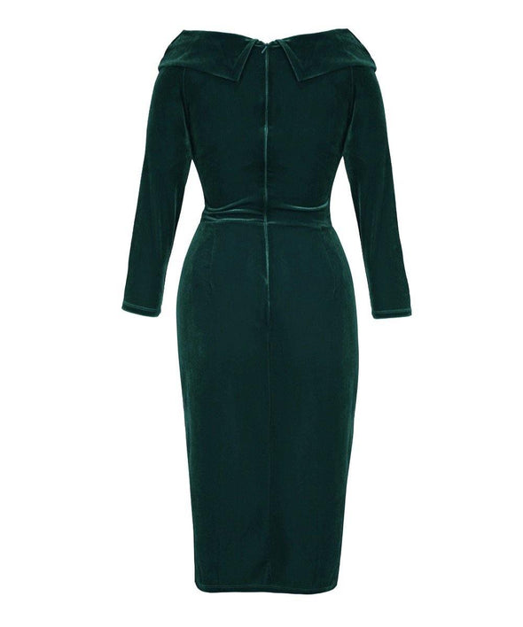 Dark Green Velvet 'Edge of the Shoulder' Bombshell Dress