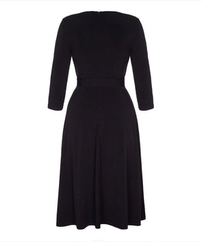 Black Stretch Luxe Flare Jersey Dress