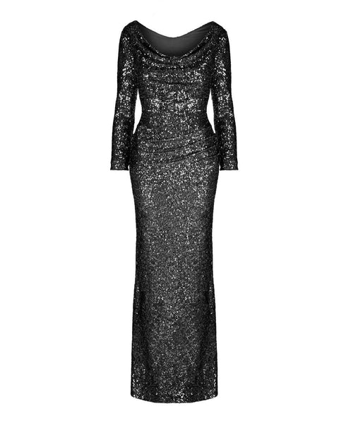 long black sequin ball gown mother of the bride wedding gust evening gown