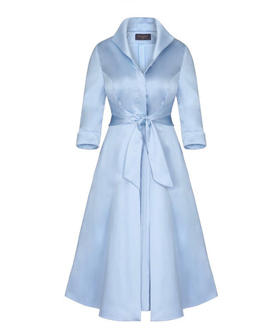 Pale Blue Soft Matt Stretch Satin Grace Tie Front Bombshell Dress Mother of the Bride Wedding Guest
