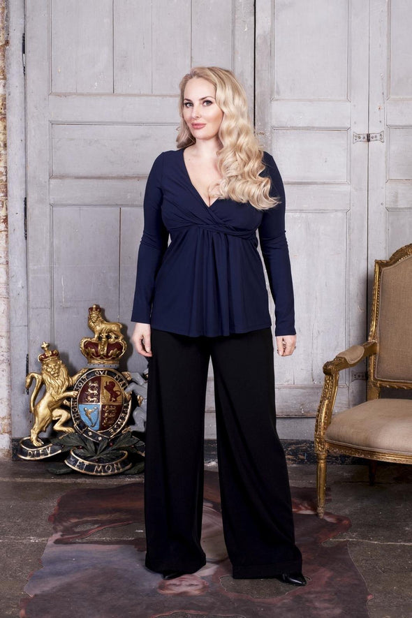 Drape Top in Navy