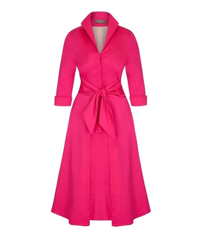 Bright Pink Cotton Grace Tie Front Shirt Dress