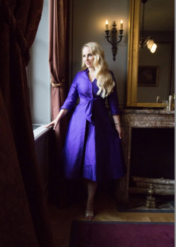 Violet Silk Dupion Bombshell Magnificent 'Grace' Tie Front Shirt Dress