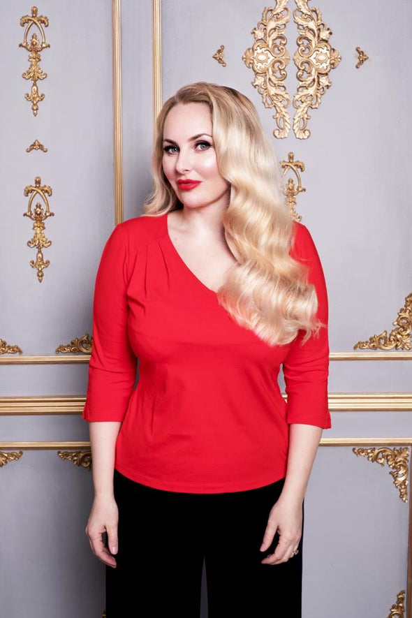 The classic V Neck Top in Hot Red
