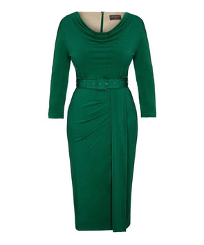 Dark Green Bombshell 'Stretch Luxe' Scoop Neck 3/4 Sleeve Jersey Dress