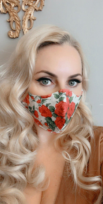 Bombshell Facemask With Filter Pocket Made With Carline Red Roses Liberty Tana Lawn print