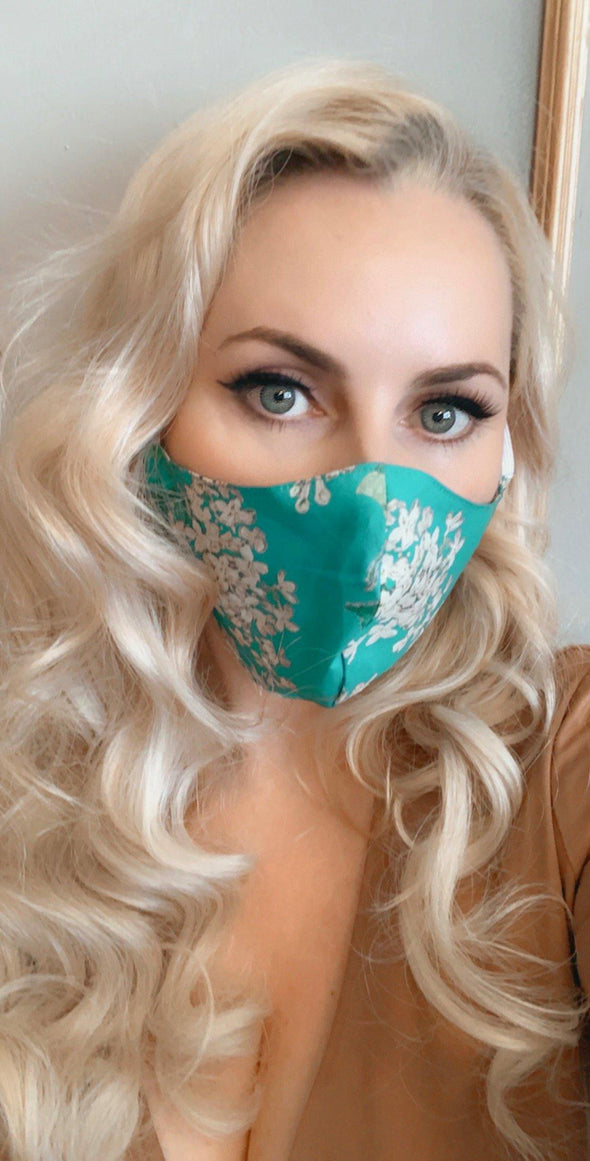 Bombshell Facemask With Filter Pocket made with Archive Lilac Turquoise Liberty Tana Lawn print