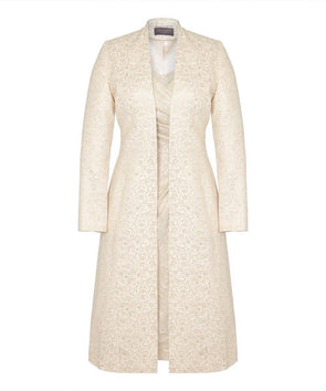 Bombshell Gold and Cream Coat Wedding Ascot Mother of the Bride Smart Coat Event Baptism